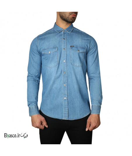 پیراهن مردانه جین دو جیب کوک 347